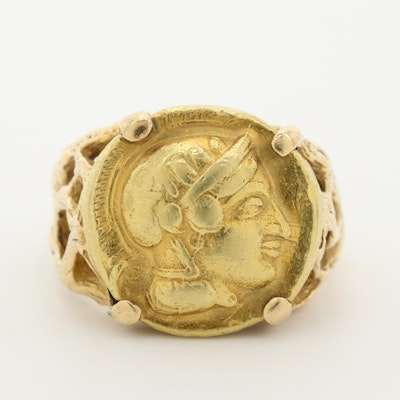 14K Yellow Gold Ring with Replica Ancient Athens Greek Gold Drachm Coin