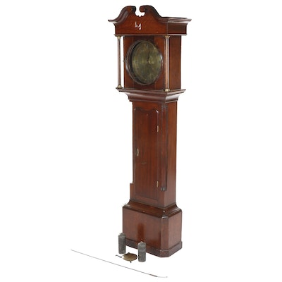 Federal Style Stained Oak Tallcase Clock with Brass Face, 19th Century