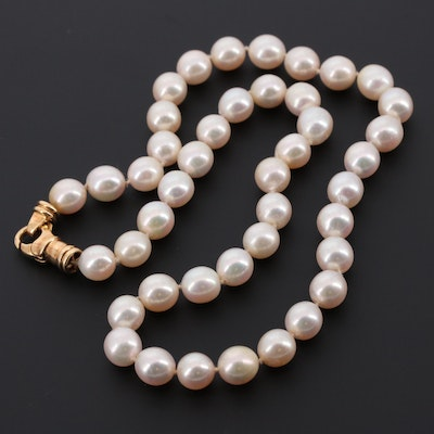 18K Yellow Gold Cultured Pearl Necklace