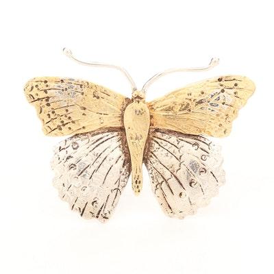 Sterling Silver Butterfly Converter Brooch