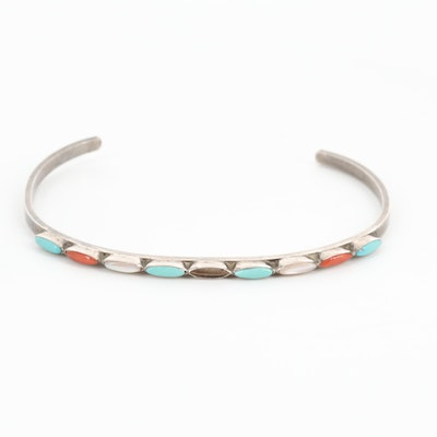 Sterling Silver Turquoise, Mother of Pearl and Coral Cuff Bracelet