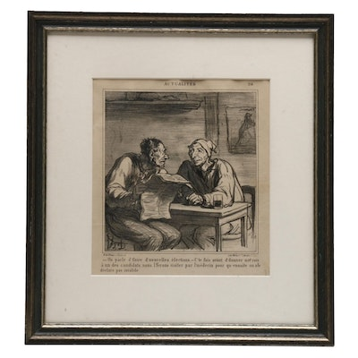 """1869 Lithograph After Honoré Daumier """"They're talking about new elections"""""""