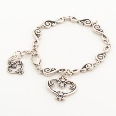Sterling Silver Glass Crystal Fancy Link Heart Bracelet