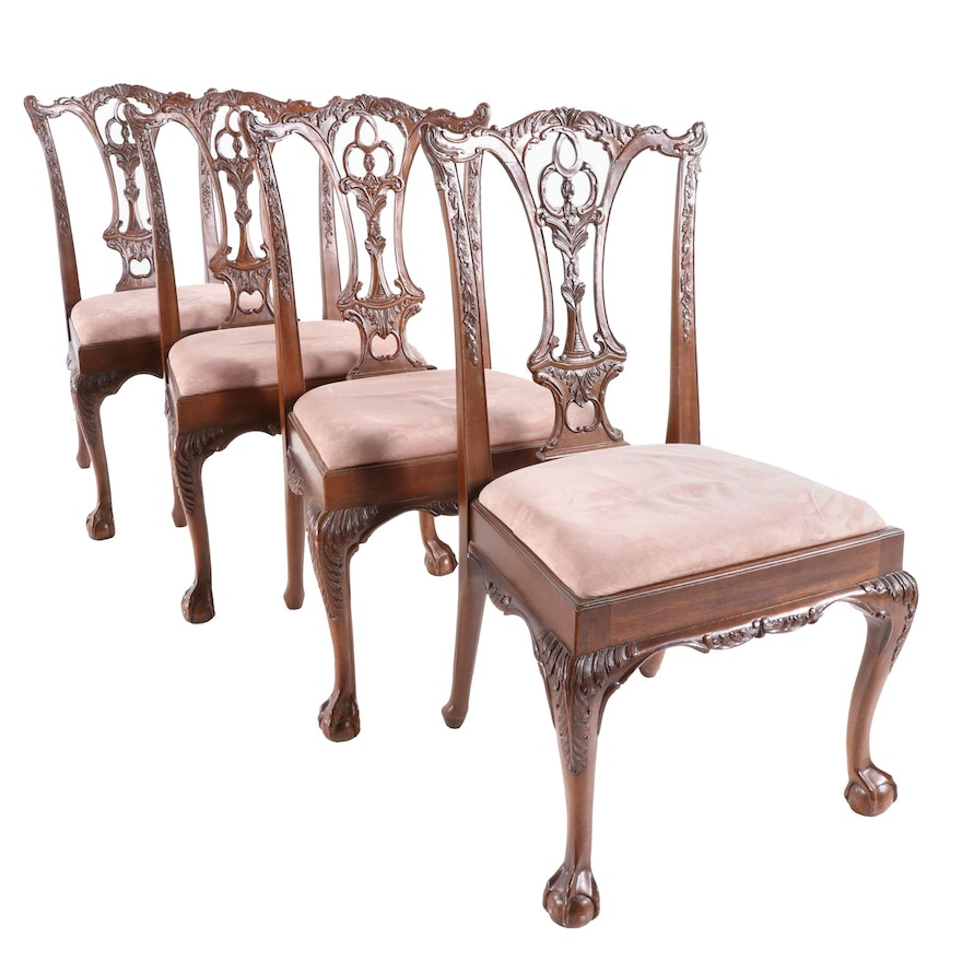 Four Chippendale Style Mahogany Dining Side Chairs