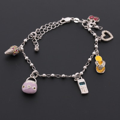 Sterling Silver Charm Bracelet Including Enamel, Cubic Zirconia and Chamilla