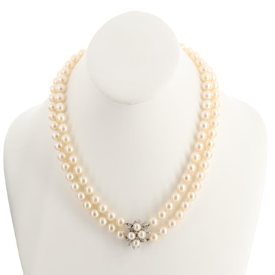 Hand Knotted Diamond and Cultured Pearl Strand Necklace with 14K Gold Clasp