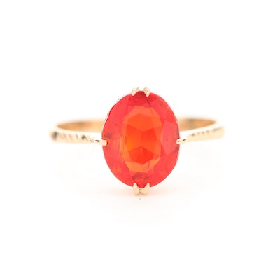 14K Yellow Gold Ring with Orange Glass Center Stone