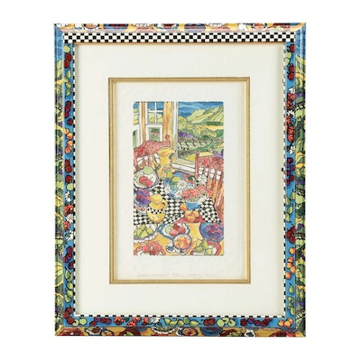 "Mary Mark Hand-Colored Linoleum Block Print ""Kitchen Window"""