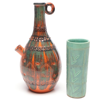 Italian Stoneware Water Jug and Green Cylinder Vase, Mid 20th Century