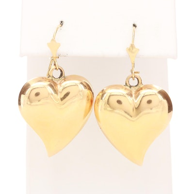 14K Yellow Gold Puffed Heart Dangle Earrings