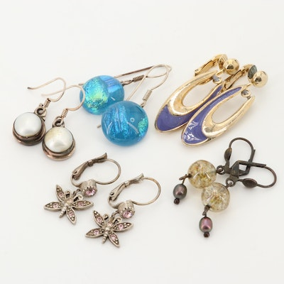 Assortment of Dangle Earrings Featuring Cultured Pearl
