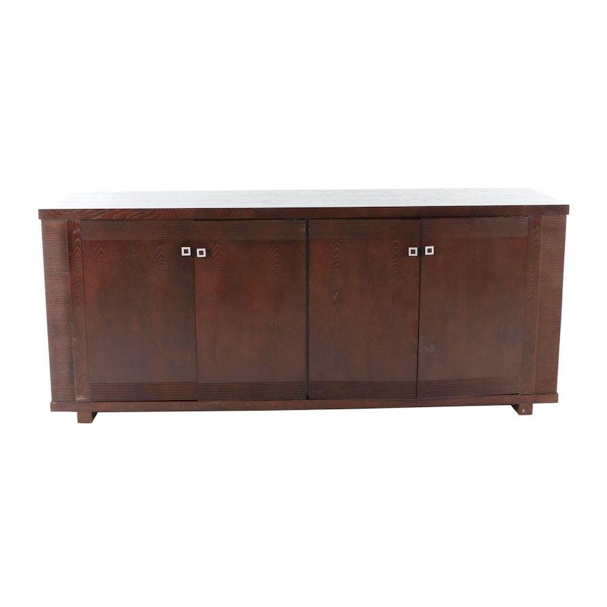 Contemporary Walnut Finish Oak Veneer Sideboard