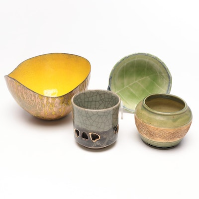 Thrown Earthenware Bowls with Double-Walled Japanese Tumbler, Contemporary