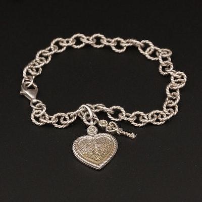 Sterling Silver Diamond Heart Charm Bracelet