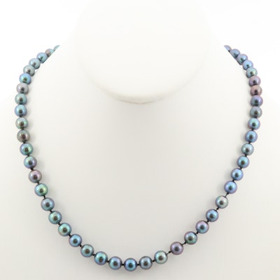 Hand Knotted Cubic Zirconia and Cultured Pearl Strand Necklace