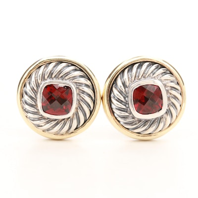 David Yurman Sterling Silver Garnet Earrings with 14K Yellow Gold Accents