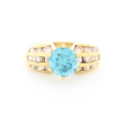 14K Yellow Gold Zircon and Diamond Ring