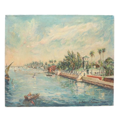 Susan H. Adamson Oil Painting of Tropical Canal Scene