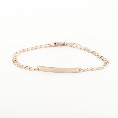 Sterling Silver Anchor Link ID Bracelet