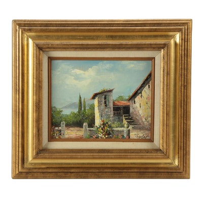 Coastal Courtyard Oil Painting