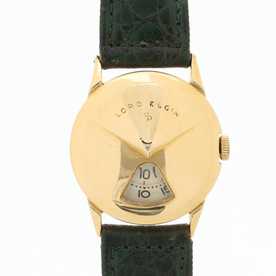 Lord Elgin 14K Gold Filled Circa 1957 Direct Reading Chevron Style Wristwatch