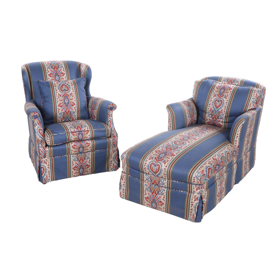 Custom-Upholstered Chaise Lounge and Wingback Armchair