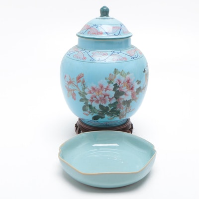 Chinese Porcelain Ginger Jar with Candy Dish, Mid-20th Century