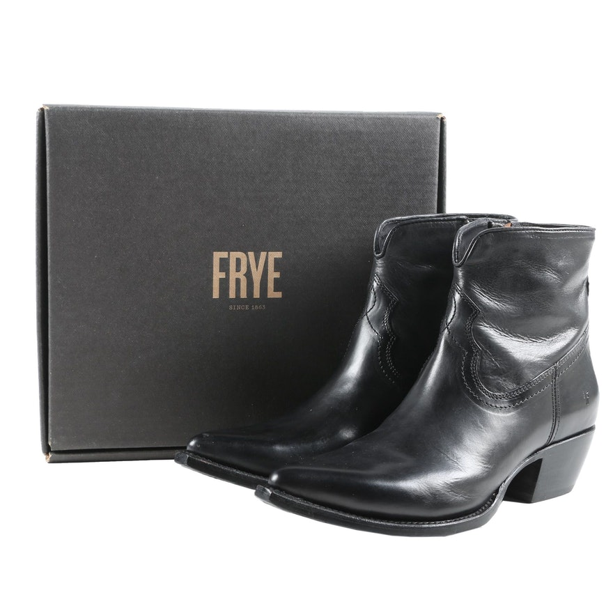 Frye Shane Short Western Boots in Black Leather with Box