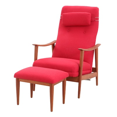 Stokke of Norway Spring-Recline Armchair with Footstool, Mid Century Modern