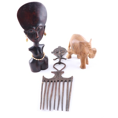 African Style Carved Wood Sculptures and Decorative Metal Comb