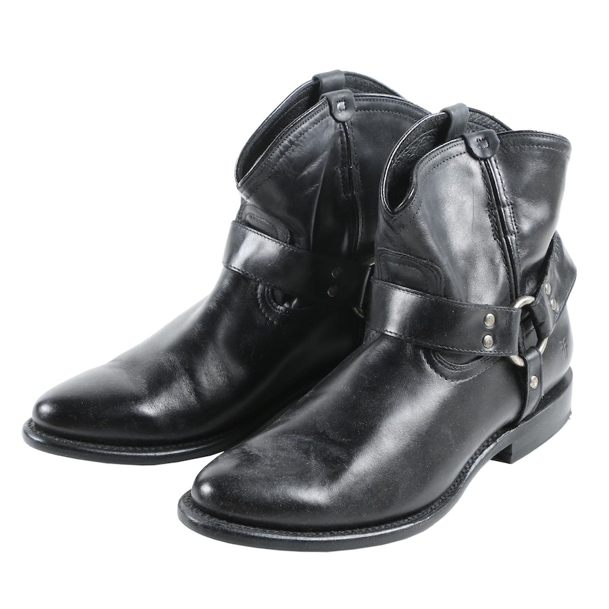 Frye Wyatt Harness Short Boots in Black Leather with Box