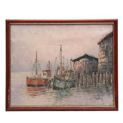 W. Jones Oil Painting of Harbor Scene
