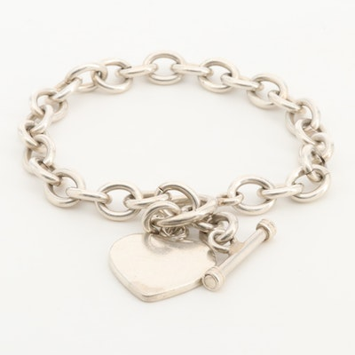 Sterling Silver Cable Link Bracelet with a Heart Charm Motif