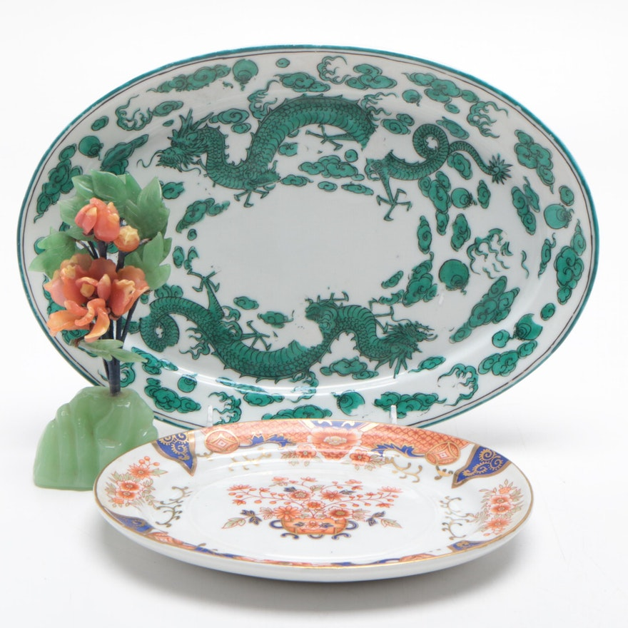 Chinese Jadeite Floral Arrangement with Porcelain Serving Platters
