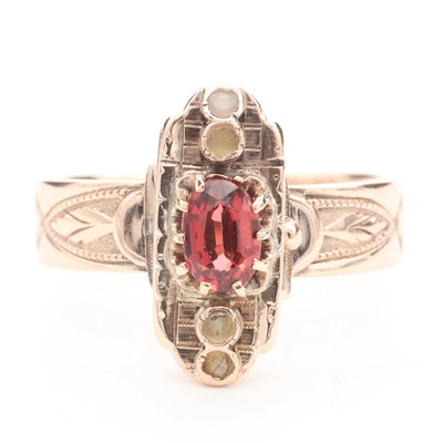 Vintage 14K Rose Gold Garnet and Seed Pearl Ring
