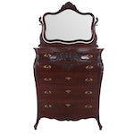 Transitional Georgian/ Louis XV Style Tall Chest of Drawers in Mahogany, 20th C.