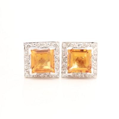 14K White Gold Citrine and Diamond Stud Earrings