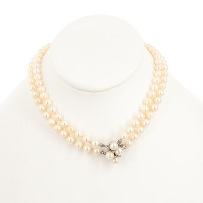 Vintage Double Strand of Cultured Pearls with 14K White Gold Diamond Clasp