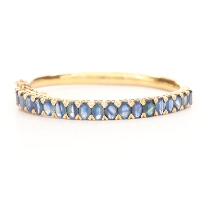 Vintage 10K Yellow Gold Blue Sapphire Engraved Bangle Bracelet with Safety Chain