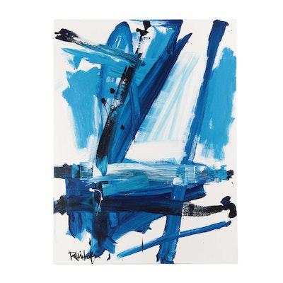 """Robbie Kemper Acrylic Painting """"Varieties of Blue"""""""