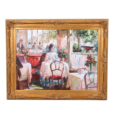 Oil Painting of Cafe Scene