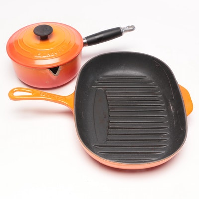 "Le Creuset Cast Iron Grill Pan and ""18"" Sauce Pan, Late 20th Century"