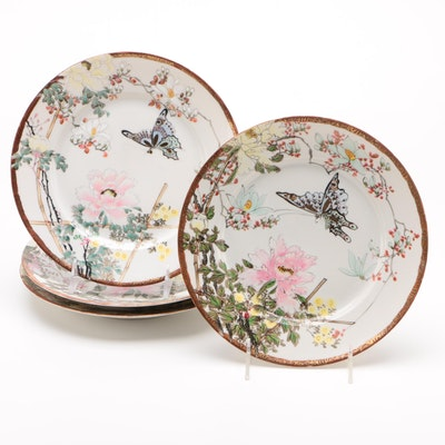 Hand Painted Porcelain Plates with Floral and Butterfly Motif with Gilded Rims