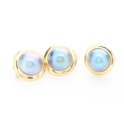 14K Yellow Gold Cultured Pearl Button Earrings and Ring