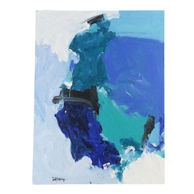 "Robbie Kemper Acrylic Painting ""Blue Parts, Graphite Scribbles"""