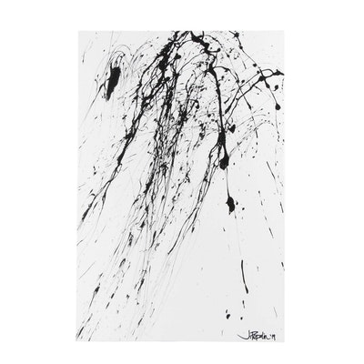 "J. Popolin Acrylic Painting ""Fireworks"""