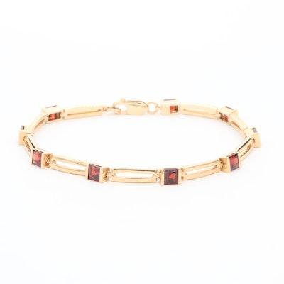 14K Yellow Gold Garnet Link Bracelet