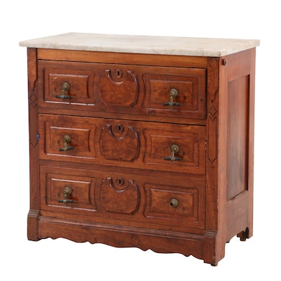 Early Victorian Walnut and Burlwood Chest of Drawers, Mid 19th Century