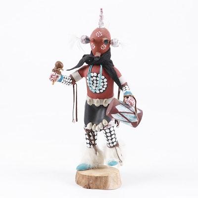 "Hopi Polychrome and Mixed Media Decorated Mudhead Kachina, Signed ""IB"""