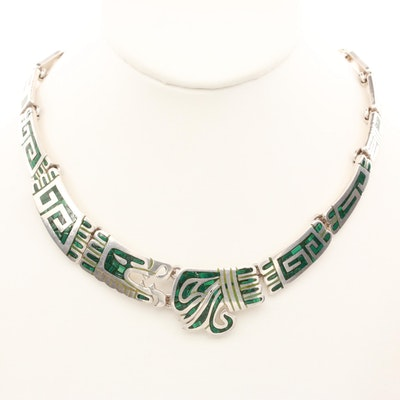 Taxco Sterling Silver Malachite Inlay Quetzalcoatl Necklace